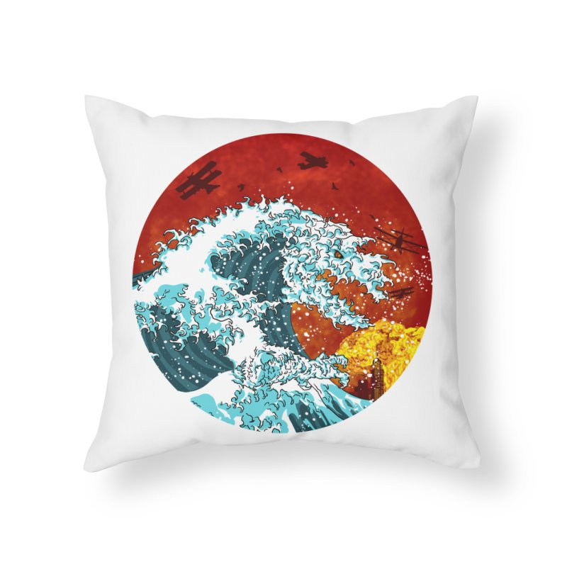 Wavezilla Home Throw Pillow by Opippi