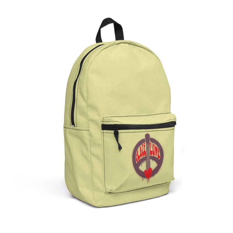Peace, love and Music Accessories Backpack Bag by Opippi