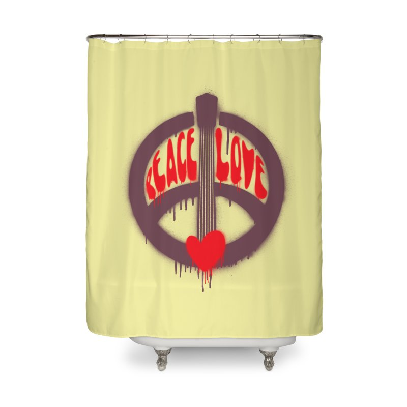 Peace, love and Music Home Shower Curtain by Opippi
