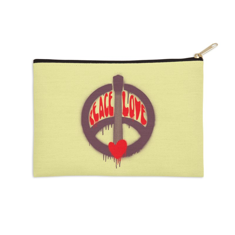 Peace, love and Music Accessories Zip Pouch by Opippi