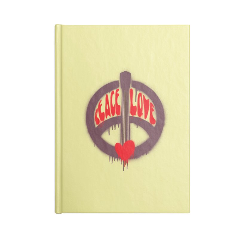 Peace, love and Music Accessories Lined Journal Notebook by Opippi