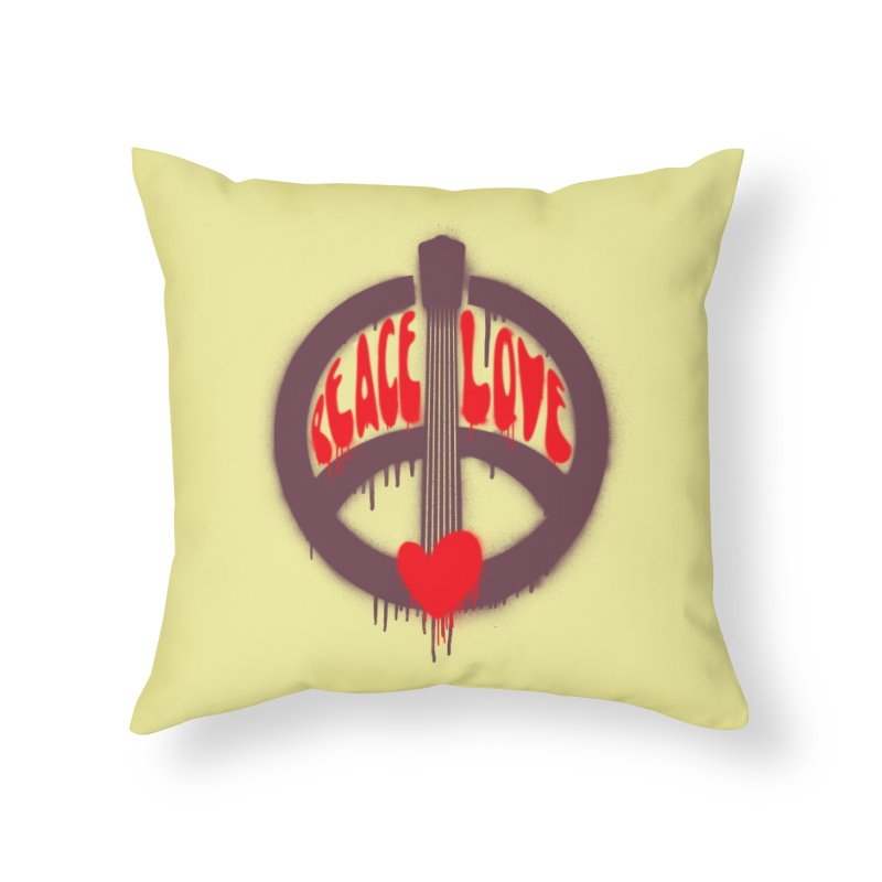 Peace, love and Music Home Throw Pillow by Opippi