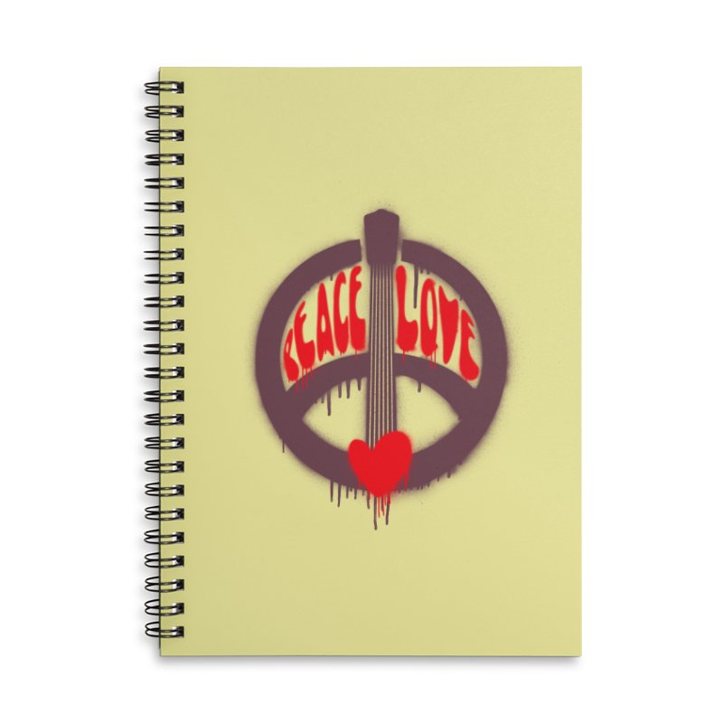 Peace, love and Music Accessories Lined Spiral Notebook by Opippi