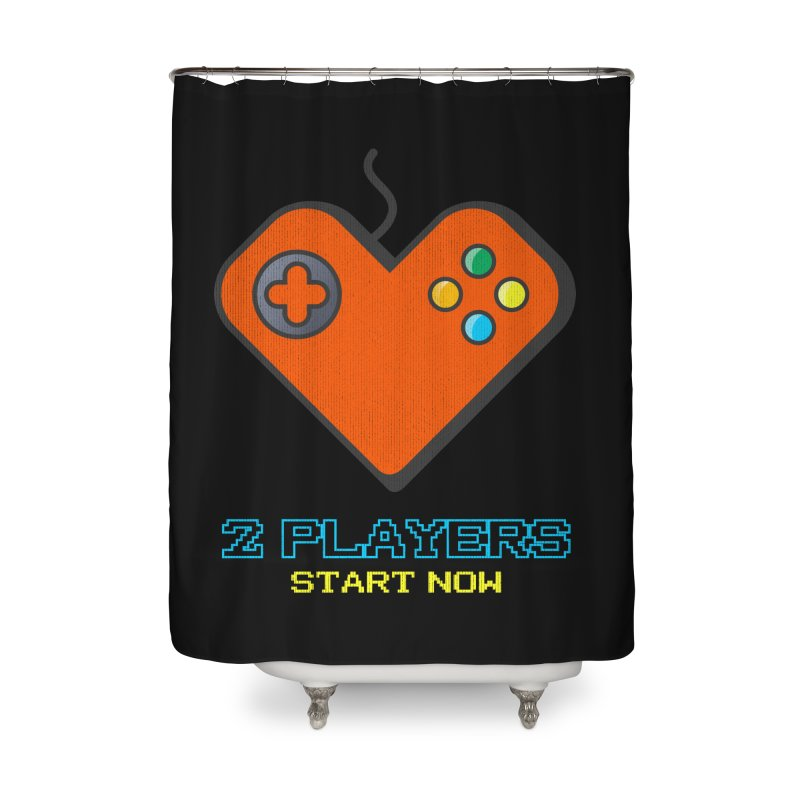 2 players start now matching Gamer Couple Home Shower Curtain by Opippi