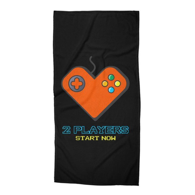 2 players start now matching Gamer Couple Accessories Beach Towel by Opippi