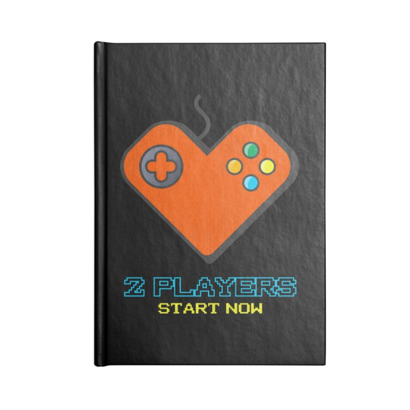 2 players start now matching Gamer Couple Accessories Lined Journal Notebook by Opippi