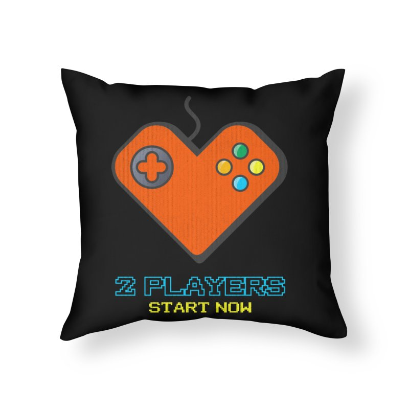 2 players start now matching Gamer Couple Home Throw Pillow by Opippi
