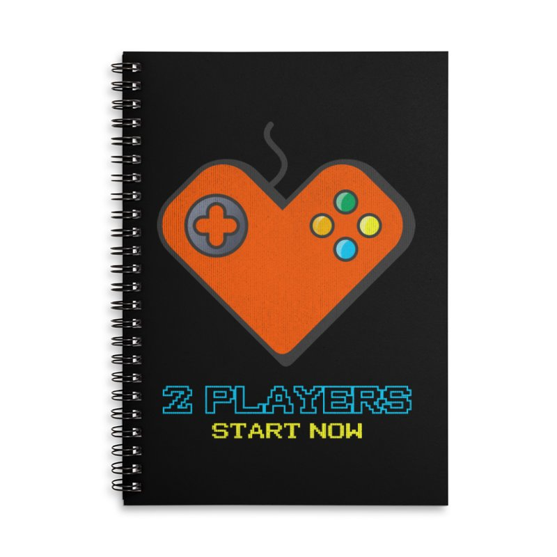 2 players start now matching Gamer Couple Accessories Lined Spiral Notebook by Opippi