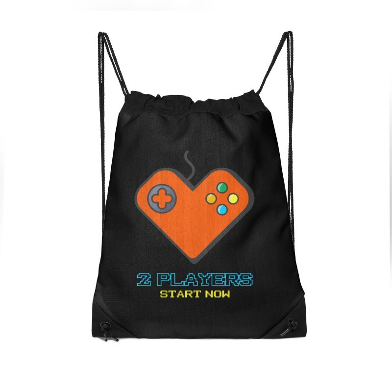 2 players start now matching Gamer Couple Accessories Drawstring Bag Bag by Opippi