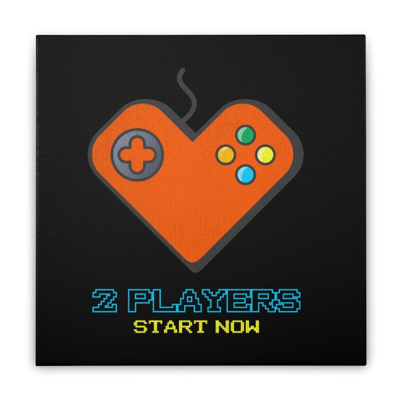 2 players start now matching Gamer Couple Home Stretched Canvas by Opippi