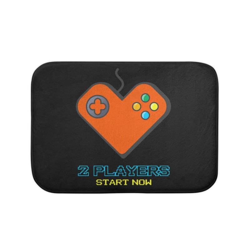 2 players start now matching Gamer Couple Home Bath Mat by Opippi
