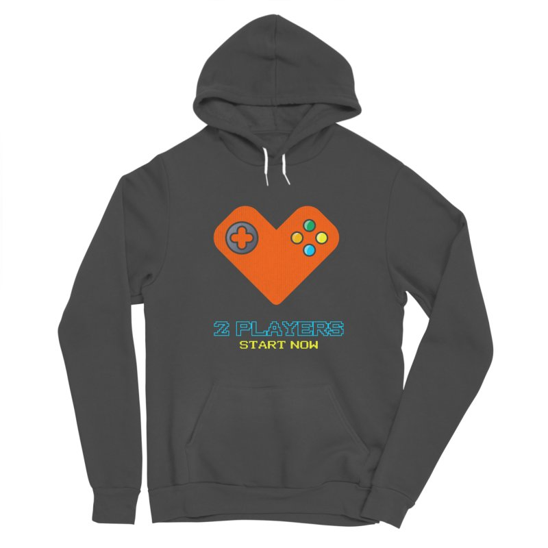 2 players start now matching Gamer Couple Men's Sponge Fleece Pullover Hoody by Opippi