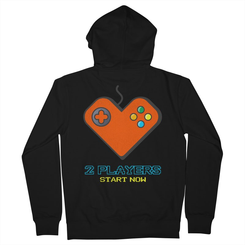 2 players start now matching Gamer Couple Men's French Terry Zip-Up Hoody by Opippi