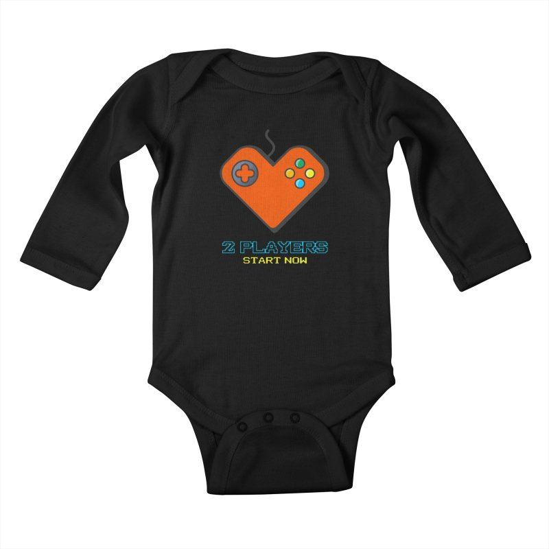 2 players start now matching Gamer Couple Kids Baby Longsleeve Bodysuit by Opippi