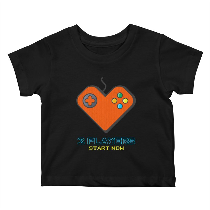 2 players start now matching Gamer Couple Kids Baby T-Shirt by Opippi