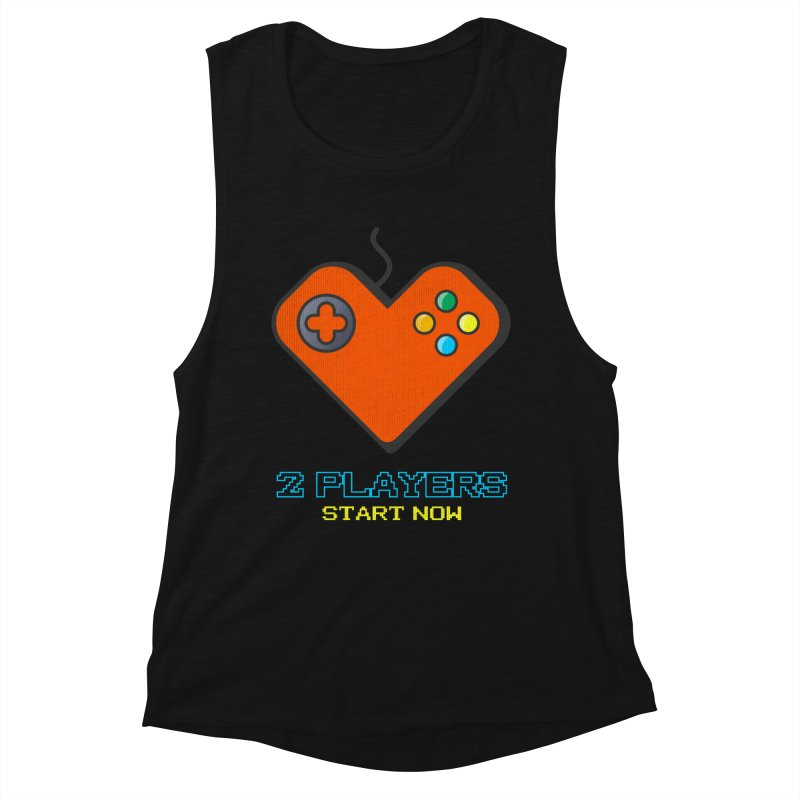 2 players start now matching Gamer Couple Women's Muscle Tank by Opippi