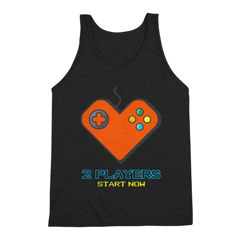 2 players start now matching Gamer Couple Men's Triblend Tank by Opippi
