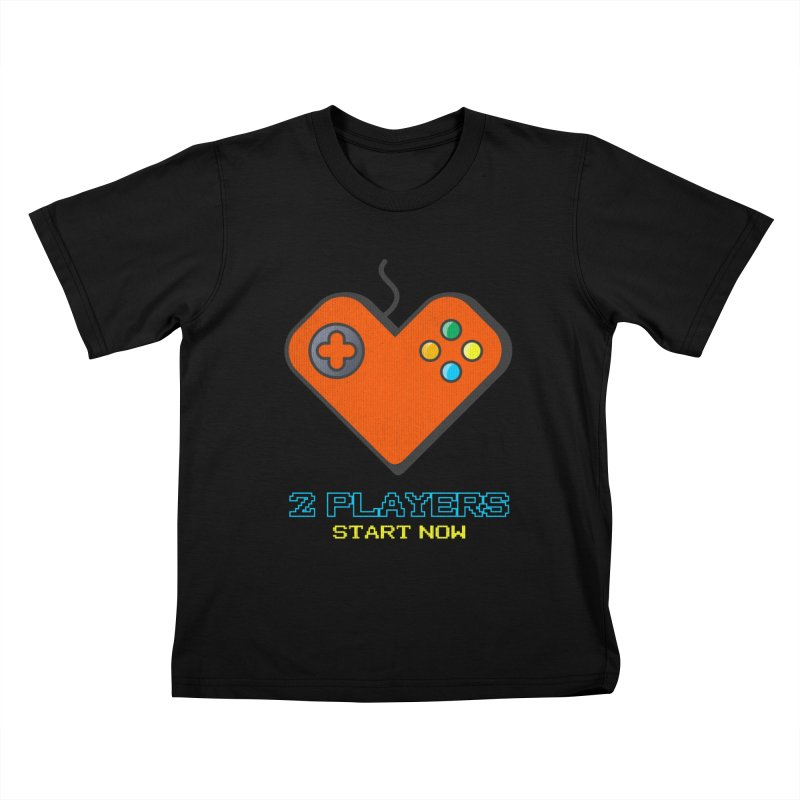 2 players start now matching Gamer Couple Kids T-Shirt by Opippi