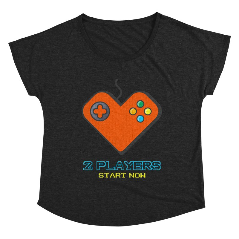 2 players start now matching Gamer Couple Women's Dolman Scoop Neck by Opippi