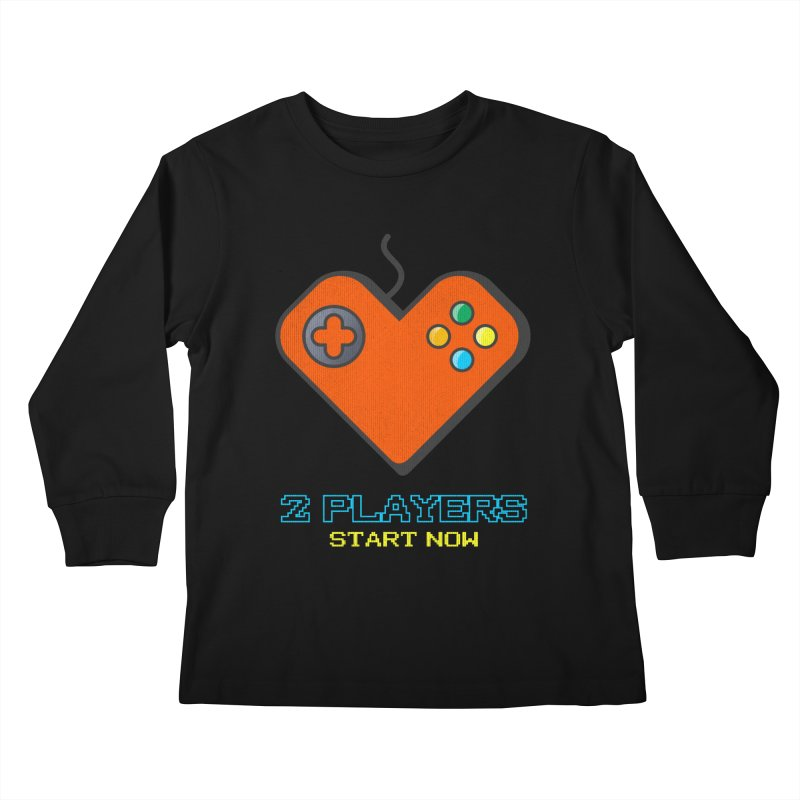 2 players start now matching Gamer Couple Kids Longsleeve T-Shirt by Opippi