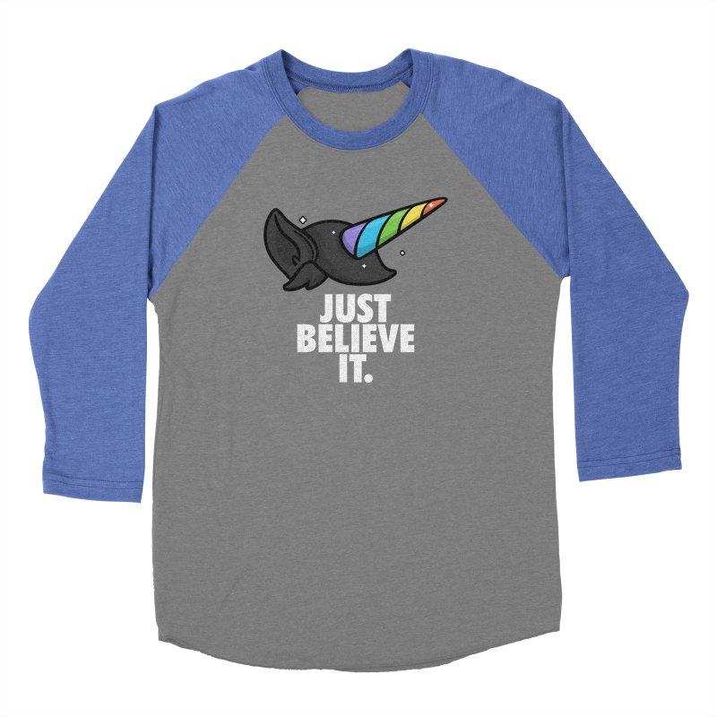 Just Believe it Men's Baseball Triblend Longsleeve T-Shirt by Opippi