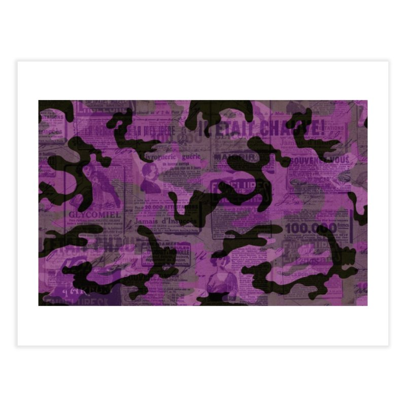Vintage newspaper camouflage Home Fine Art Print by Opippi