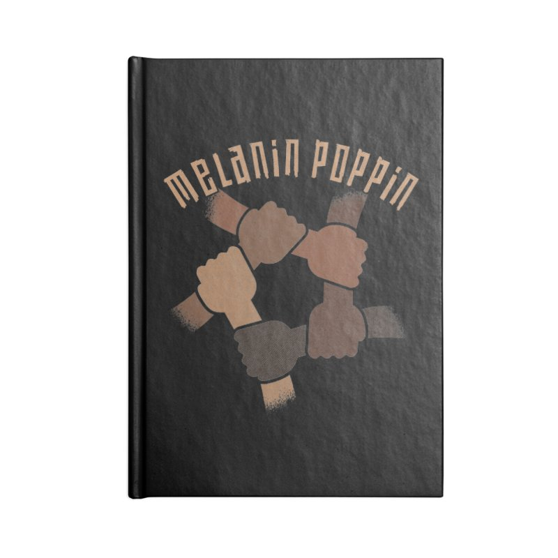 Melanin Poppin black hands holding together BLM Accessories Notebook by Opippi