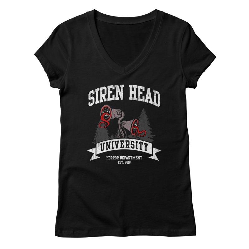 Siren Head University Horror Department Women's V-Neck by Opippi
