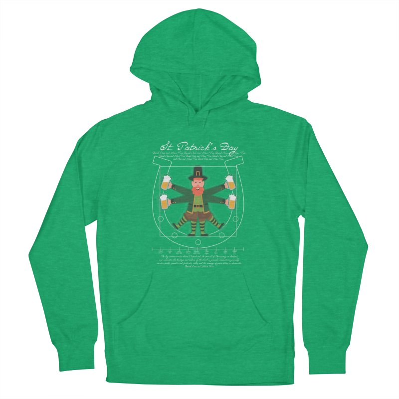 Leprechaun Man drinking beer vitruvian man Men's Pullover Hoody by Opippi