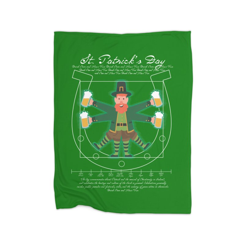 Leprechaun Man drinking beer vitruvian man Home Blanket by Opippi