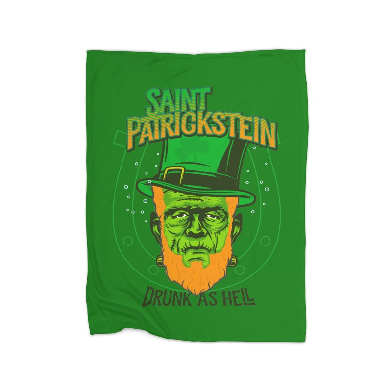 Saint Patrickstein drunk as hell green gifts Home Blanket by Opippi