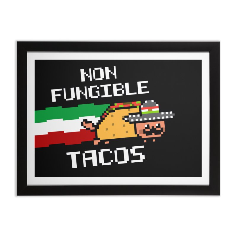 Funny Non Fungible tacos nftacos mexican food Home Framed Fine Art Print by Opippi