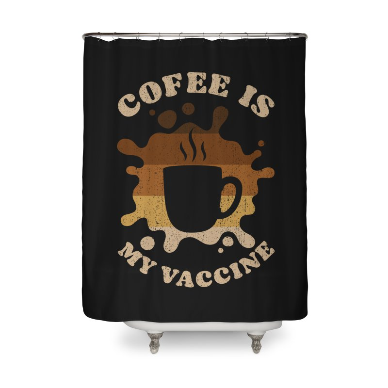 Coffee is my Vaccine Retro Home Shower Curtain by Opippi