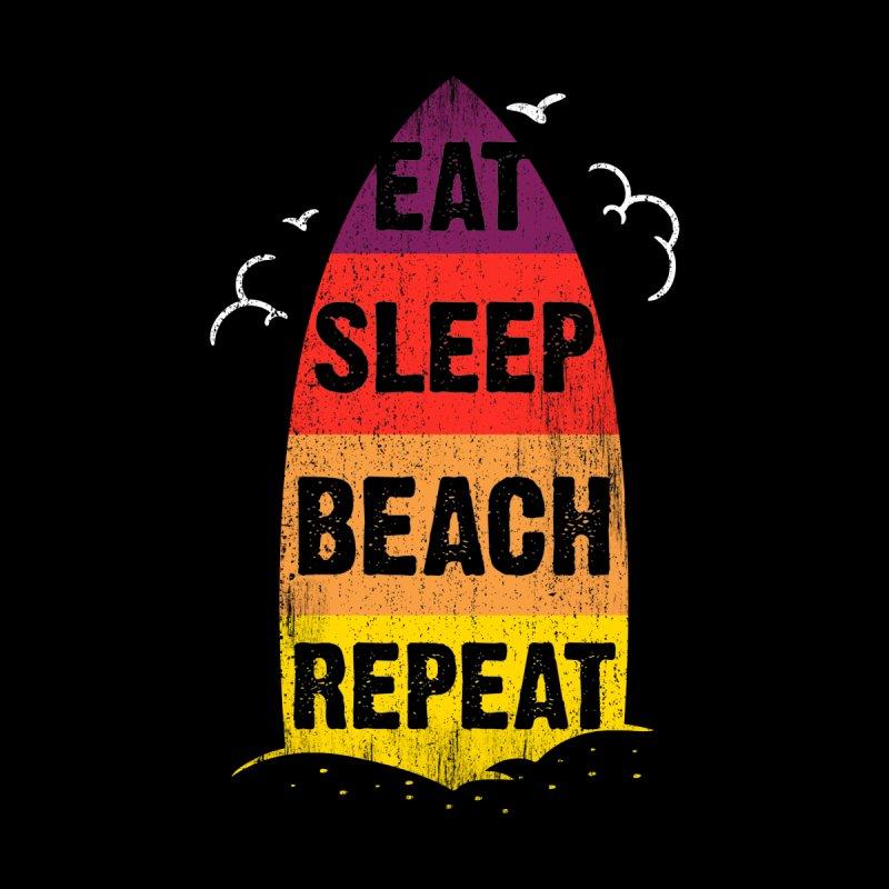 Eat Sleep Beach Repeat retro sunset surfboard Men's Longsleeve T-Shirt by Opippi