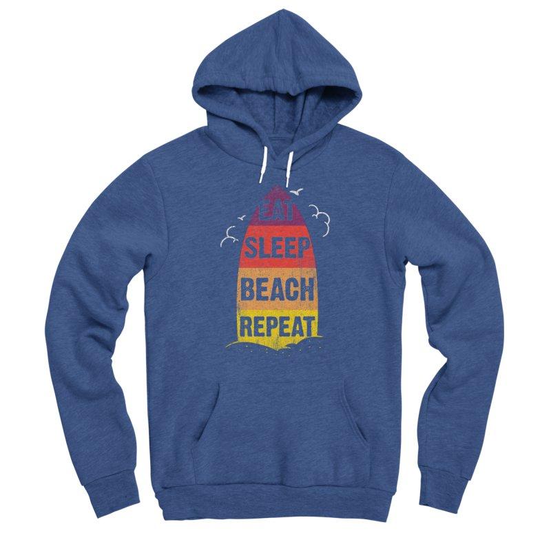 Eat Sleep Beach Repeat retro sunset surfboard Women's Pullover Hoody by Opippi