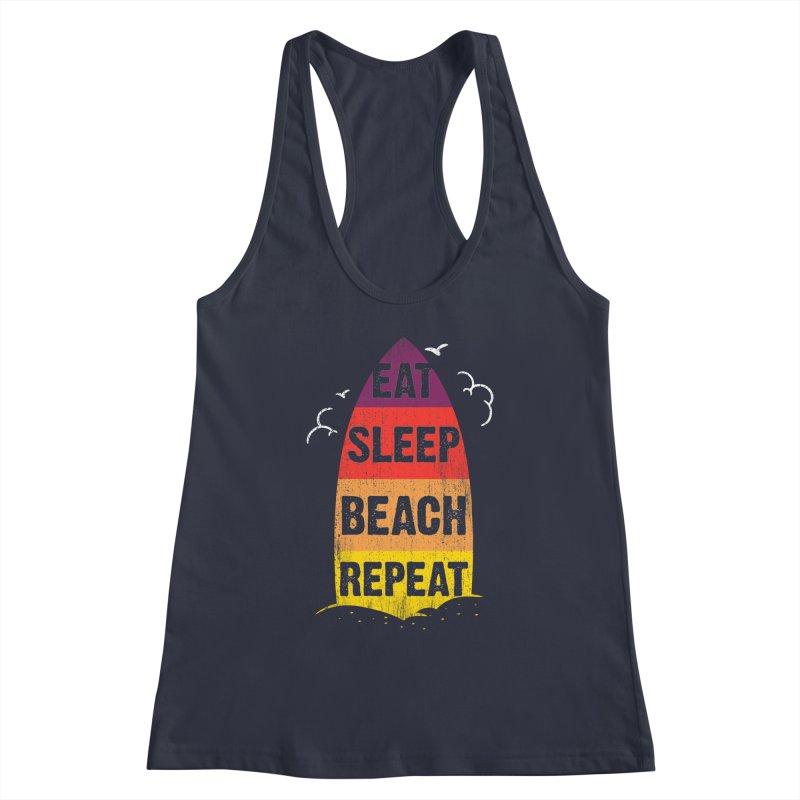 Eat Sleep Beach Repeat retro sunset surfboard Women's Tank by Opippi