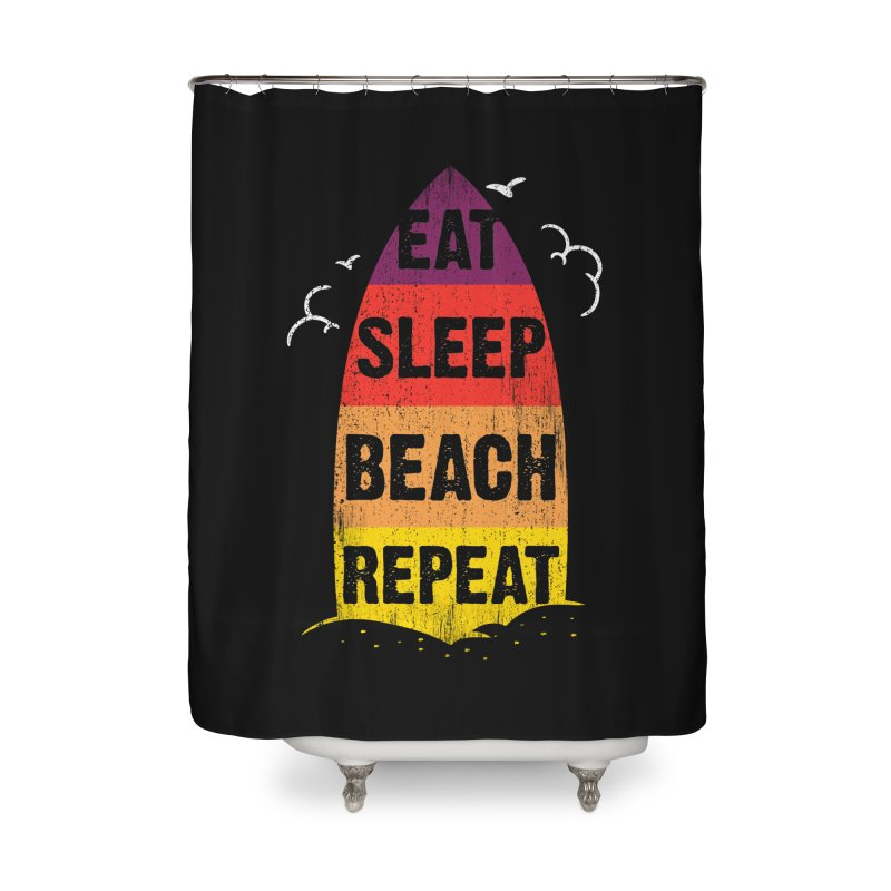 Eat Sleep Beach Repeat retro sunset surfboard Home Shower Curtain by Opippi