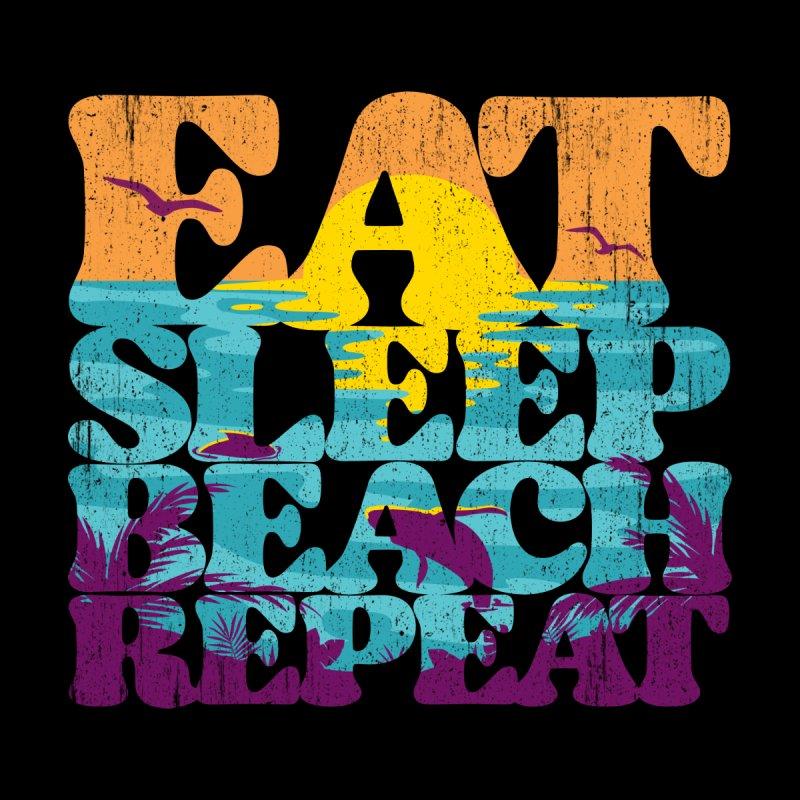 Eat Sleep Beach Repeat retro sunset paradise Women's Pullover Hoody by Opippi