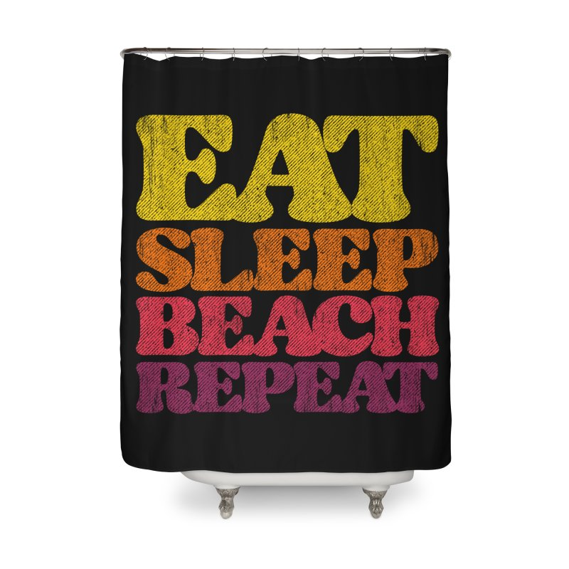 Eat Sleep Beach Repeat retro sunset Home Shower Curtain by Opippi