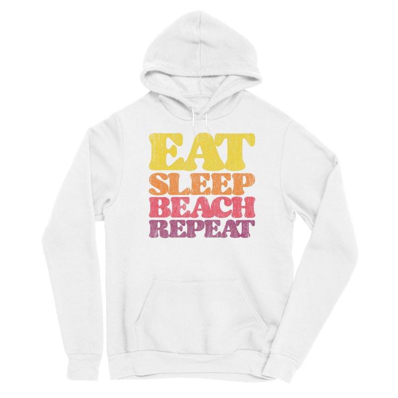 Eat Sleep Beach Repeat retro sunset Women's Pullover Hoody by Opippi
