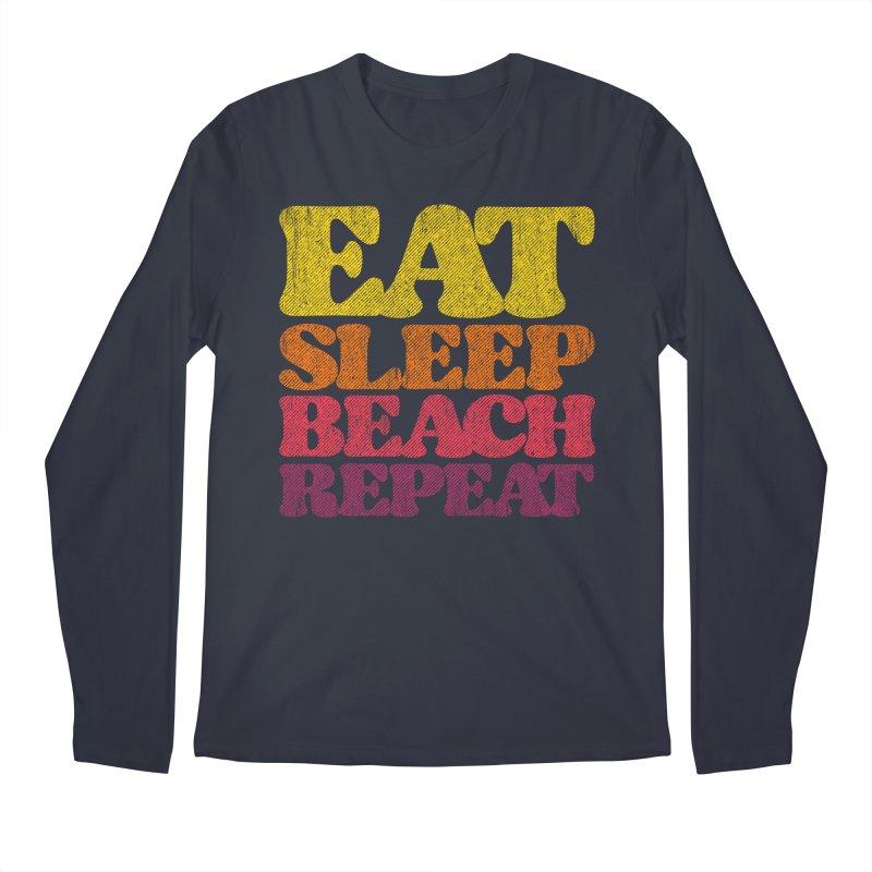 Eat Sleep Beach Repeat retro sunset Men's Longsleeve T-Shirt by Opippi
