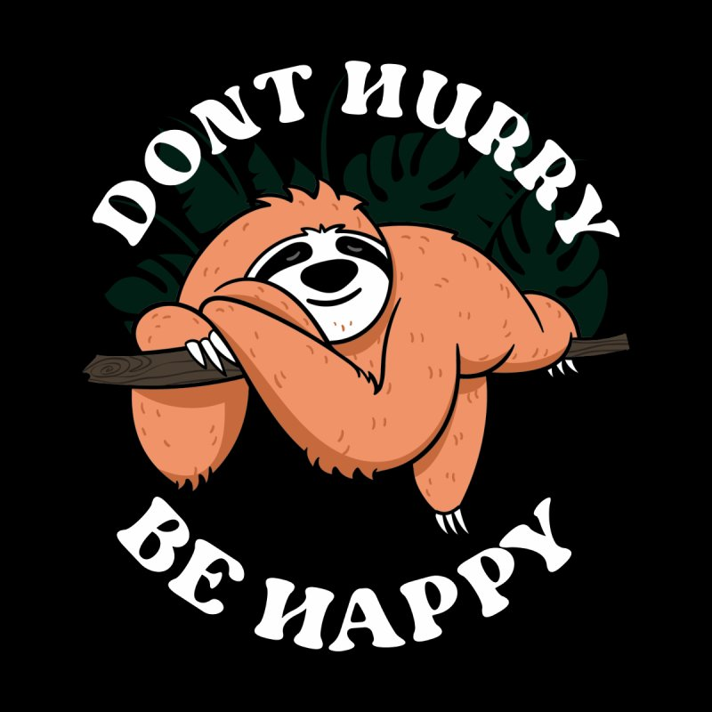 Cute Lazy Sloth Dont hurry be happy Women's V-Neck by Opippi