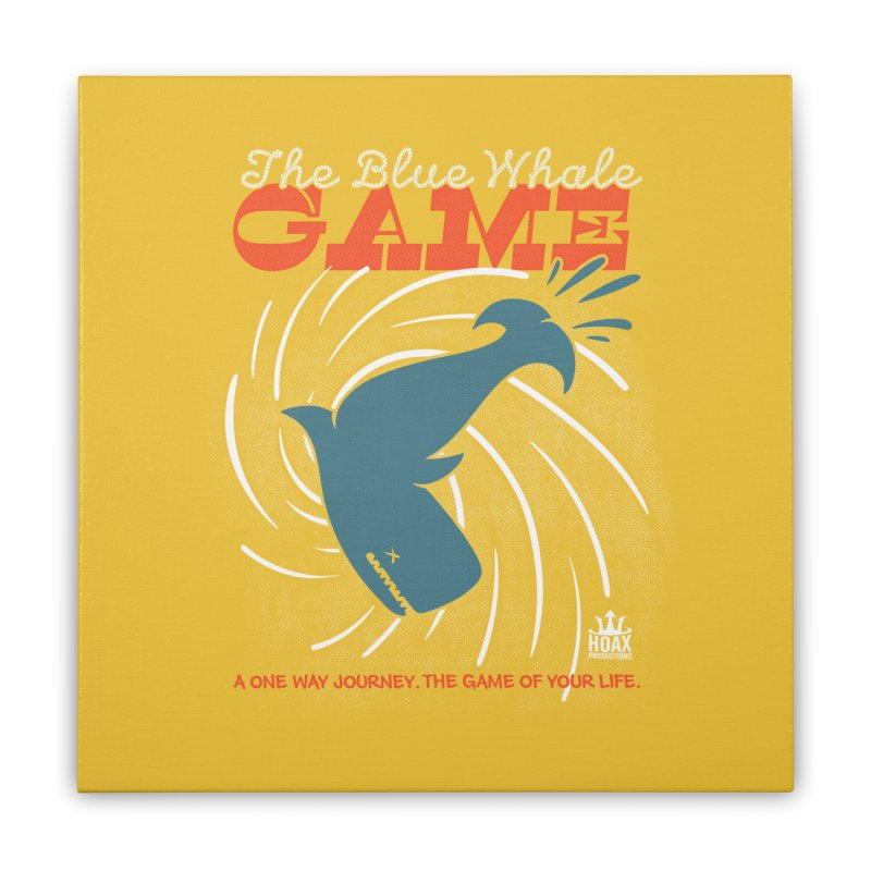 The Blue Whale Game Home Stretched Canvas by Opippi