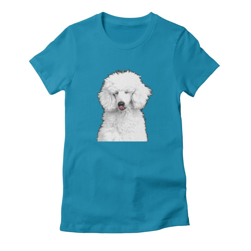POODLE in Women's Fitted T-Shirt Turquoise by THE ORANGE ZEROMAX STREET COUTURE