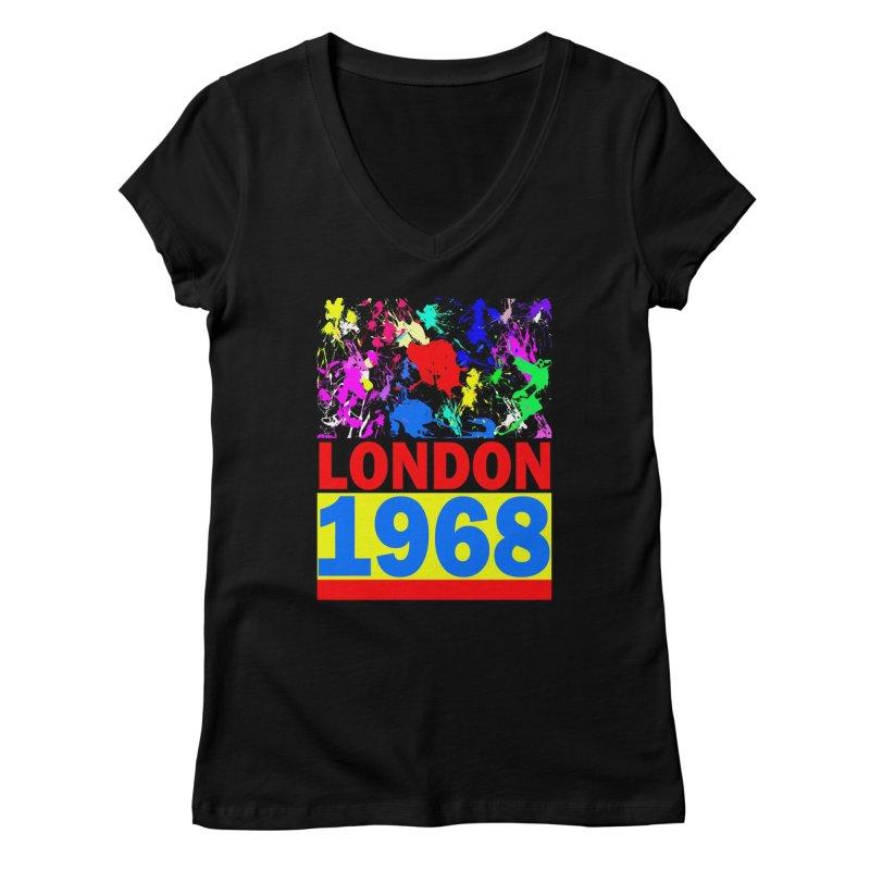 1968 LONDON 2 Women's V-Neck by THE ORANGE ZEROMAX STREET COUTURE