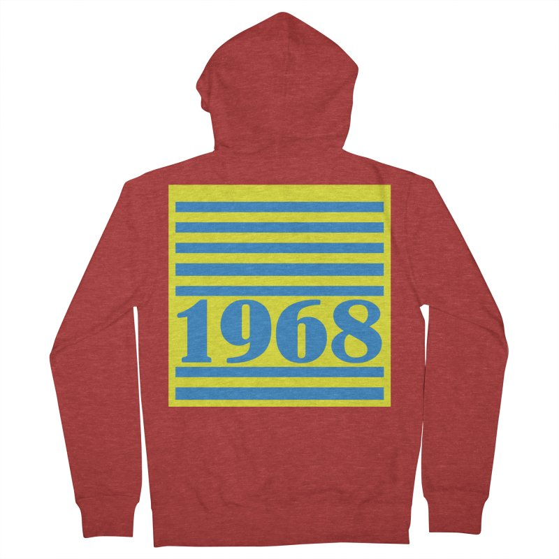 1968 STRIPES-2 Women's French Terry Zip-Up Hoody by THE ORANGE ZEROMAX STREET COUTURE