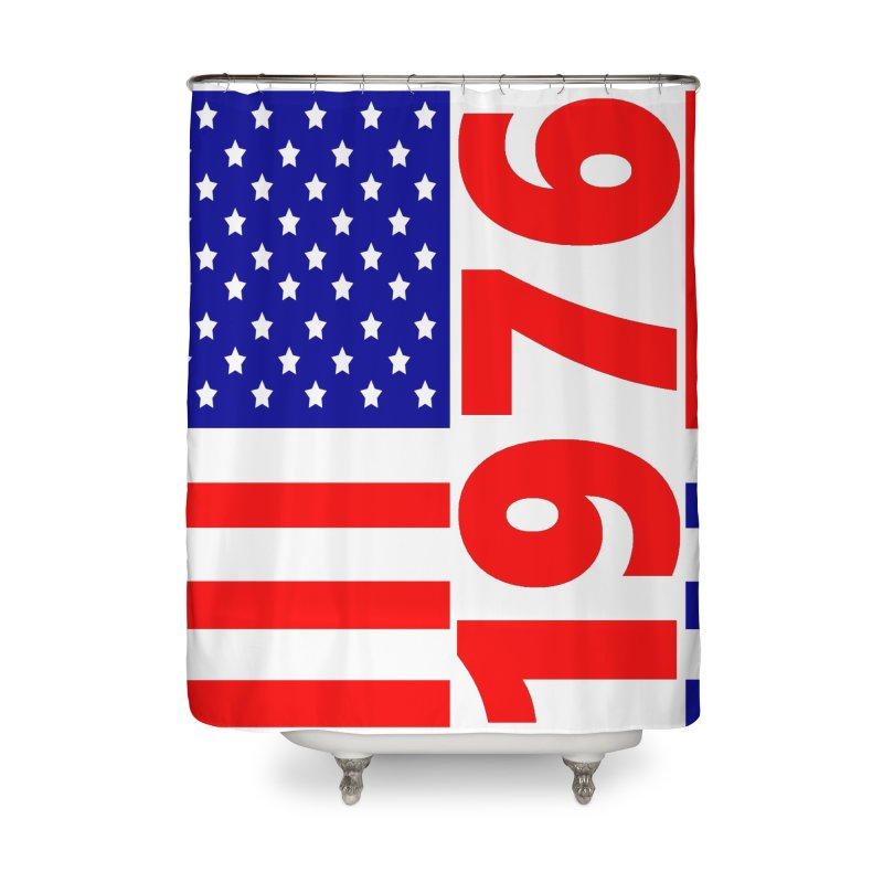 1976 Home Shower Curtain by THE ORANGE ZEROMAX STREET COUTURE