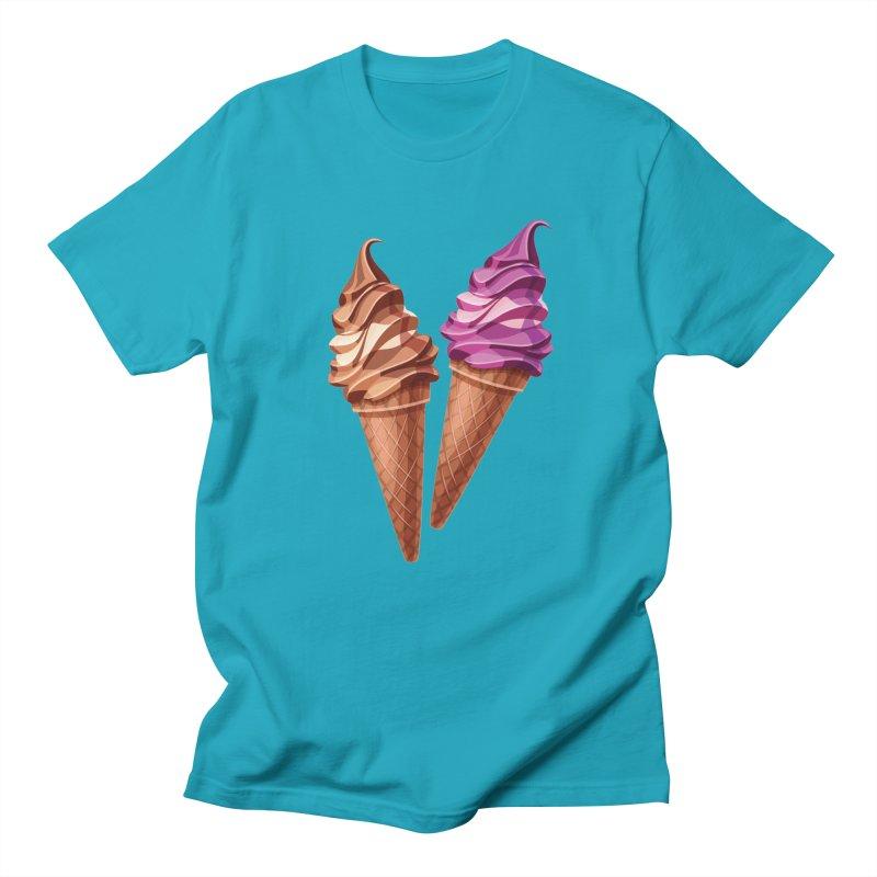 ICE CREAM-8 in Men's Regular T-Shirt Cyan by THE ORANGE ZEROMAX STREET COUTURE