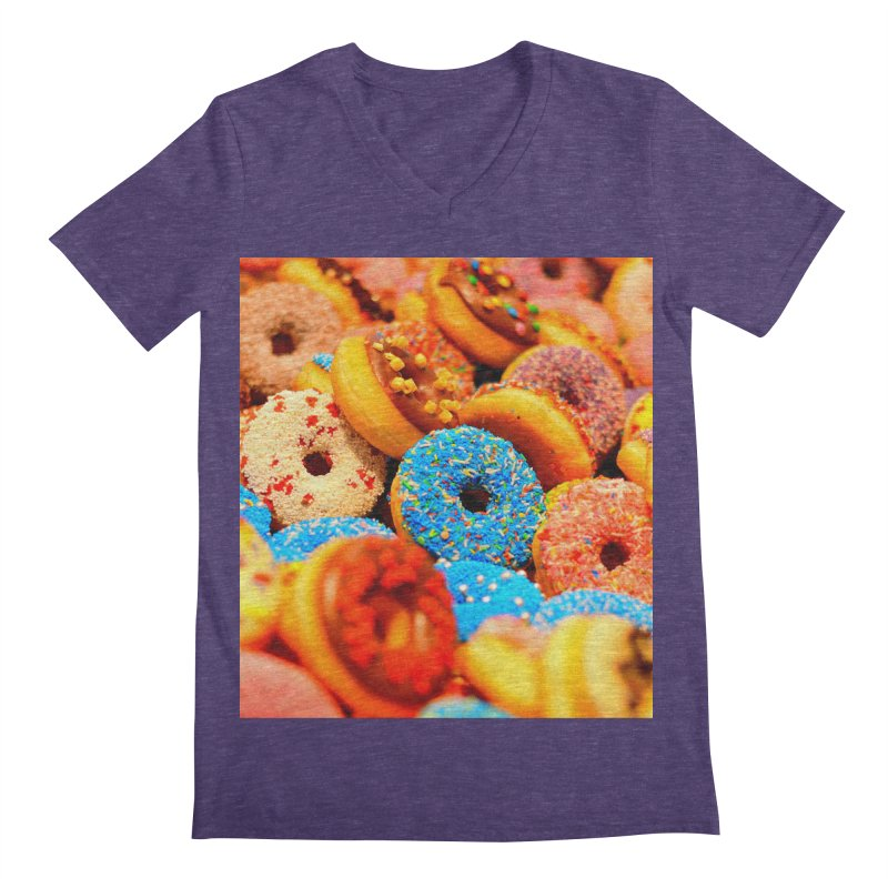 DONUTS Men's Regular V-Neck by THE ORANGE ZEROMAX STREET COUTURE