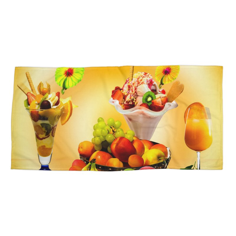 SUMMER FRUIT,ICE CREAM AND ORANGE JUICE Accessories Beach Towel by THE ORANGE ZEROMAX STREET COUTURE